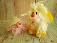 Vintage 80's Lot of Two Fluppy Yarn Rubber Toys