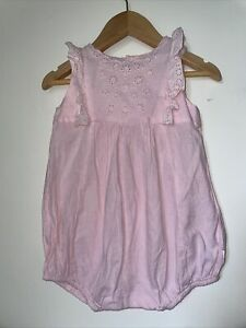 Baby Girl BEBE By MINIHAHA Playsuit Size 1 (9-12 Months) Frill Embroidery Cotton