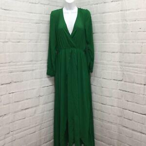 Unique Vintage Womens Wrap Dress Green Stretch V Neck Long Sleeve L 10-12 New