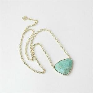 Kendra Scott Mckenna Vintage Gold Pendant Necklace in Sea Freen Chrysocolla