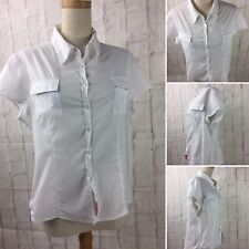 Jag Size 16 White 100% Cotton Shirt with Cap Sleeve Button up Front & Pockets