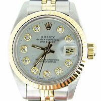 Rolex Datejust Lady Two-Tone 14K Gold Stainless Steel Watch Silver Diamond 6917