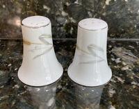 Bristol Japan Fine China SALT & PEPPER SHAKERS #S-4559 MARI WHEAT & PLATINUM