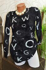 Pullover Kleid Long Pulli Strick Plüsch Teddy Buchstaben Muster schwarz Größe 38