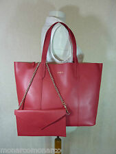 NWT Furla Ruby Red Pebbled Leather Large Elle Tote Bag $298