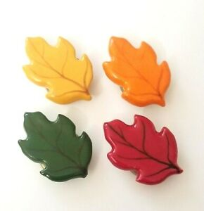 Set of 4 Vintage Ceramic Leaf Button Covers Green Orange Yellow Red Leaves