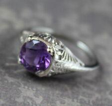 Vintage Art Deco 14K White Gold Amethyst Filigree Ring