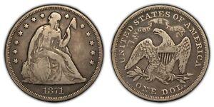 1871 $1 Seated Liberty Silver Dollar - Fine Coin - SKU-B1396