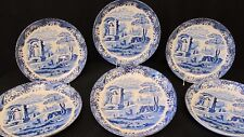 """Set of 6 MINT Spode BLUE ITALIAN C1816 11.5"""" COUPE Chargers, Chop Plate Platters"""