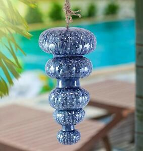 Ceramic Cobalt Blue Nautical Stylized Jellyfish And Sea Urchin Mobile Wind Chime