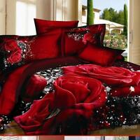 3D Red Rose Queen King Size Cotton Bedding Set 4Pcs Sheet Duvet Cover Pillowcase