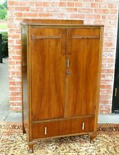 English Antique Queen Anne 2 Doors & 1 Drawer Cabinet Wardrobe / Armoire