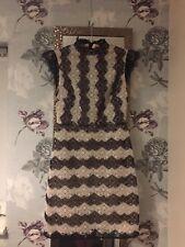 Karen Millen Lace Effect Dress Black White Cream  Size 8 36