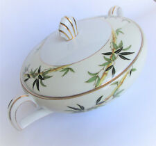 1950's Kent Bali Hai Covered Vegetable Serving Bowl Dish Bamboo Gold Gp Trim