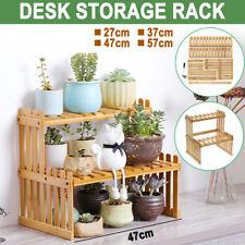 2 Tier Plant Stand Shelves Flower Pot Rack Bamboo Garden Indoor Outdoor