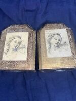 Florentine Gilt Bookends Tole ware ~ Italian Decoupage Girl w/ Gold ~ Hand Paint