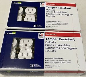 Lot of 2 Leviton Tamper Resistant Outlets 10 PACK EACH- White (SB-M22-T5320-20E)