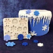 3D Molde Silicona piezas de Copos de Nieve para Fondant Pastel Glaseado Flor de Nieve de Navidad molde para hornear