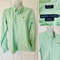 RALPH LAUREN Women Casual Shirt Slim Fit Green Cotton size 0 XS 6 Uk