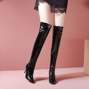 Women's Stiletto Sexy Pumps Zipper Over The Knee High Boots Nightclub Shoes Prom