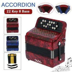 22 Key 8 Bass Accordion Button Reed Instrument for Beginners Professionals w/Bag