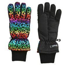 3M THINSULATE Rainbow Foil Peace Sign Insulated Ski Gloves Girls Size 7-16