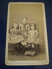 Cdv old photograph sailor boy and girls by Owen Angel Exeter c1860s 517(5)