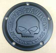 Harley-Davidson Skull Derby-Cover für Big Twins - MATTSCHWARZ PULVERBESCHICHTET