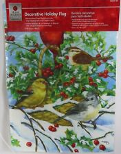 Winter Outdoor Home Yard Decor Garden Flag Birds Holly Berries