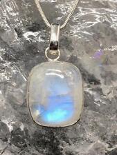 Rainbow Moonstone Sterling Silver Pendant ~ Travellers Stone 6gm