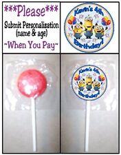24 Despicable Me Minions Birthday Party Lollipop Sticker Invitation Seal Favors
