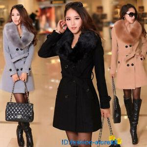 New Women Winter Coat Long Wool Jacket Fur Collar Slim belt Outwear Trench coat