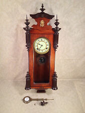 Seikosha Wall Clock Porcelain Face Great Wood Case Finials