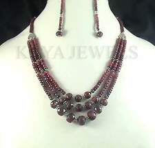 ~6MM NATURAL RUBY DESIGNER BEADS NECKLACE W/ EARRINGS ~
