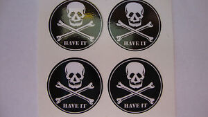 """HAVE IT 16 SKULL and CROSS BONES STICKERS 1"""" CROWN GREEN BOWLS LAWN FLAT GREEN"""