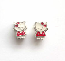 6 Enamel 11x8mm Hello Kitty Beads 5mm Hole Charms