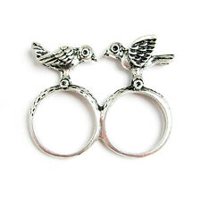 New Silver Love Birds Tree Branch Double 2 Two Finger Knuckle Connector Ring 6.5