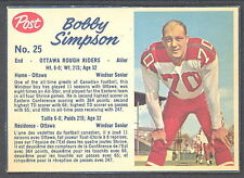1962 POST CFL FOOTBALL 25 BOB SIMPSON EX-NM OTTAWA ROUGH RIDERS WINDSOR SENIOR