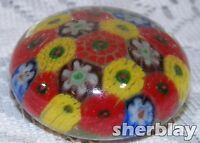 Vintage Chinese Glass Millefiori Paperweight Red Blue Yellow White