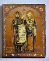 """Ikone """"Heiligen Kirill und Mefodiy"""",geweiht, Holzplatte, 10 x 12 x 2 cm"""