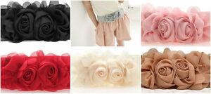 Vintage Women Girl Double Rose Flower Buckle Elastic Wide Waist Corset Belt Band