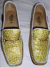Escada Vintage Shoes Leather Croc Alligator Green Yellow 37 7 B HapaChico Haute