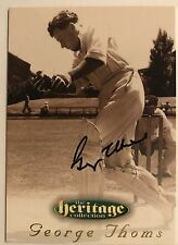 1995 FUTERA HERITAGE CRICKET COLLECTION CARD N0 19/60 SIGNED GEORGE THOMS
