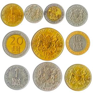 10 DIFFERENT KENYAN COINS. AFRICAN MONEY, CURRENCY: CENTS, SHILLINGS SINCE 1966