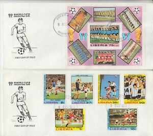 Liberia # 820-25 C222 FDC's 1978 World Cup Football Soccer Sports