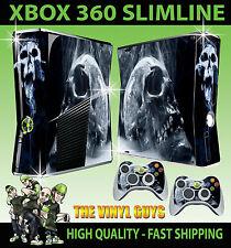 XBOX 360 SLIM SMOKEY SKULL DARK ART GOTHIC BONES STICKER SKIN & 2 X PAD SKINS