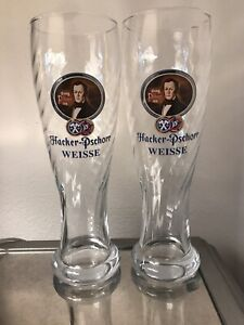 "Lot of 2 Hacker-Pschorr Weisse Swirl Beer Glasses .5 Liter 9 3/4"" Tall"
