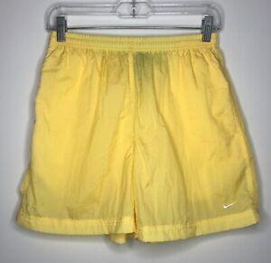Vintage Nike Women's Nylon Athletic Shorts Tennis Running Yellow Swoosh Sz L