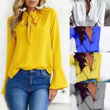 UK Womens Long Sleeve Casual Loose Blouse Top Ladies OL Work T Shirts Tee Tops
