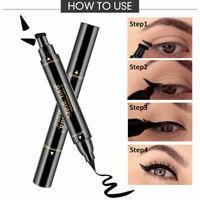 2 in 1 Pro Winged Eyeliner Stamp Waterproof Makeup Eye Liner Pencil Black Liquid